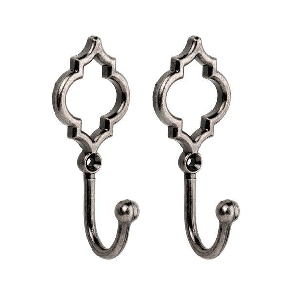 Geo Pack of 2 Hooks Pewter (Grey)