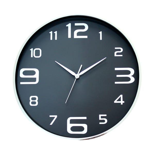 Boston 44cm Wall Clock Black Black