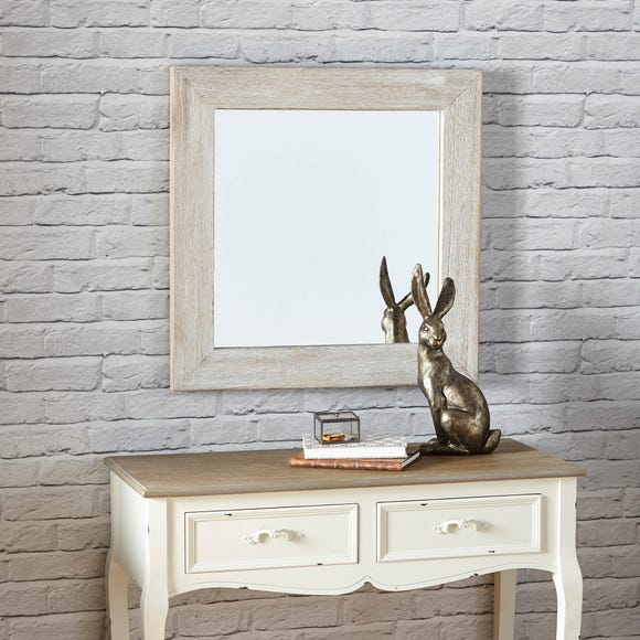 Wooden Wall Mirror 67x67cm White Washed White