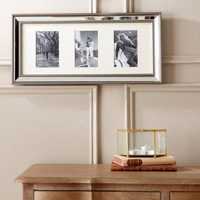 Dorma Champagne 3 Aperture Mirrored Photo Frame