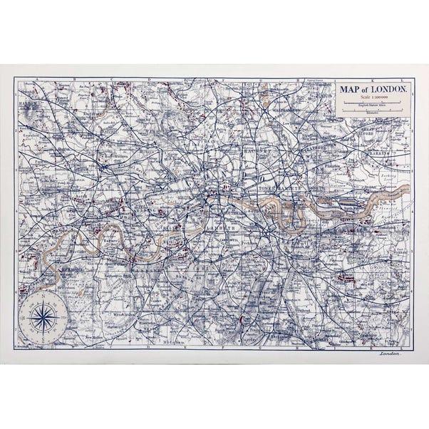 London Map Canvas Natural