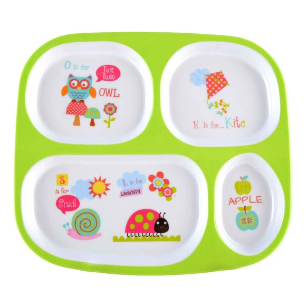 Kids Alphabet Dinner Tray Green