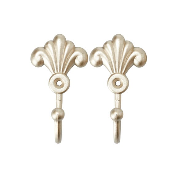 Champagne Pack of 2 Toulouse Scroll Hooks Champagne