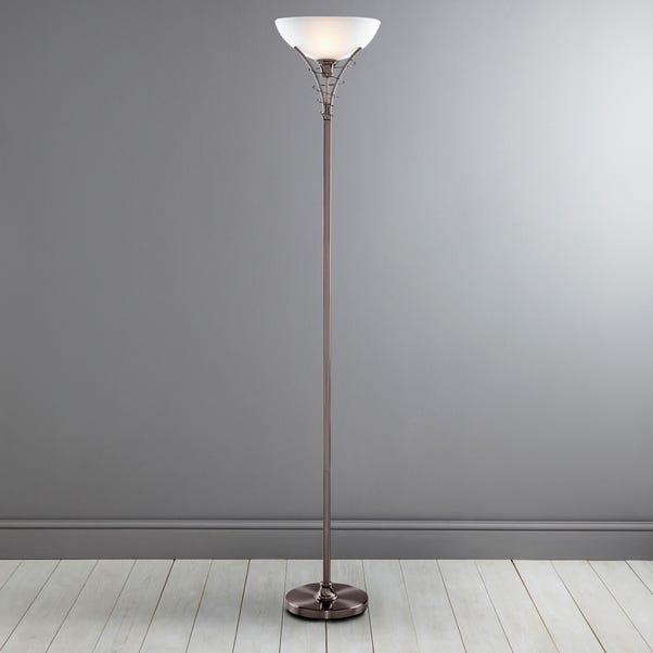 Linea Scroll Satin Nickel Floor Lamp Satin Silver