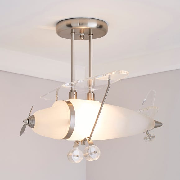 Airplane 1 Light Ceiling Fitting Silver