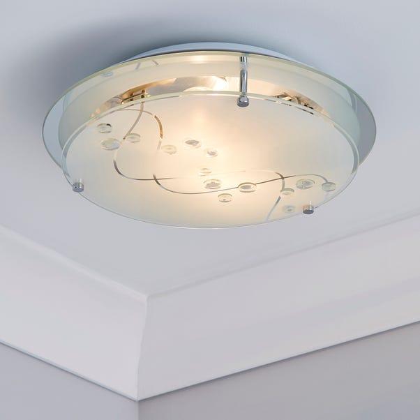 2 Light Glass Flush Ceiling Fitting White