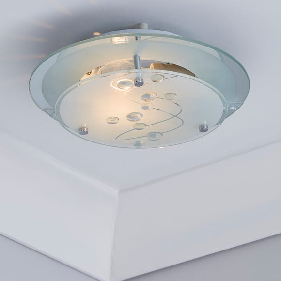 1 Light Glass Flush Ceiling Fitting White