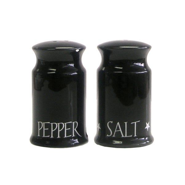 Black Vintage Text Salt & Pepper Shakers Black