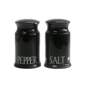 Black Vintage Text Salt & Pepper Shakers