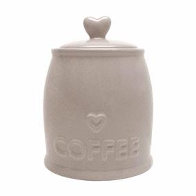 Country Taupe Heart Coffee Jar