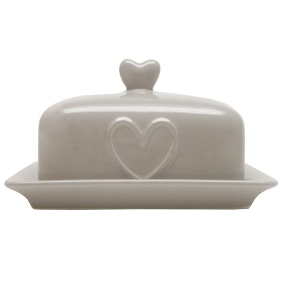 Country Taupe Heart Butter Dish Taupe (Brown)