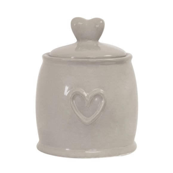 Country Taupe Heart Sugar Pot Taupe (Brown)
