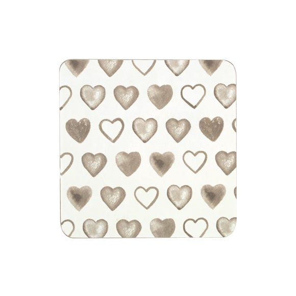 Country Heart Set of 4 Coasters Natural
