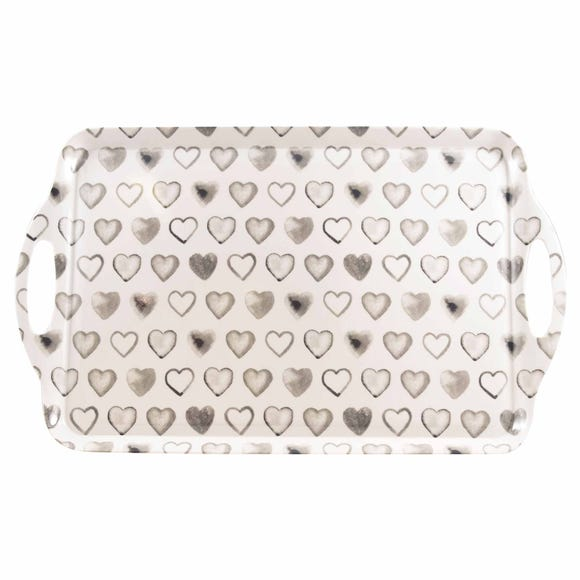 Country Heart Large Tray Taupe (Cream)