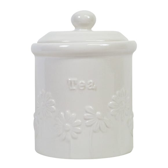 Daisy Tea Storage Canister White