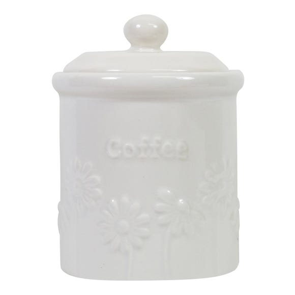 Daisy Coffee Canister White