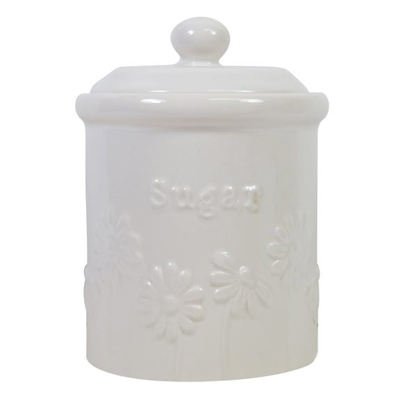 Daisy Sugar Storage Canister White