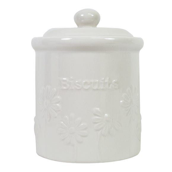 Daisy Biscuit Canister White