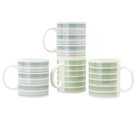 Pack of Four Watercolour Mugs MultiColoured