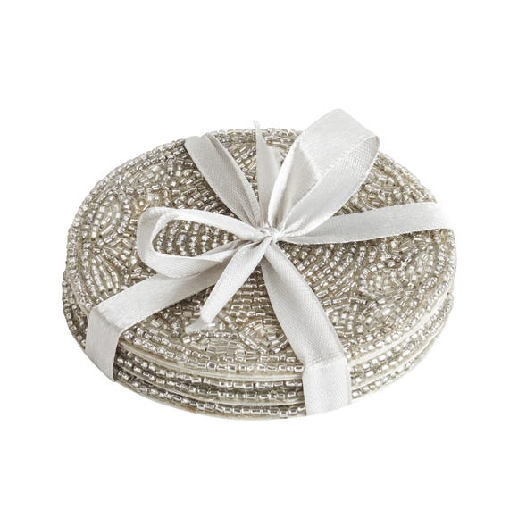 Pack of 4 Silver Beaded Coasters Silver
