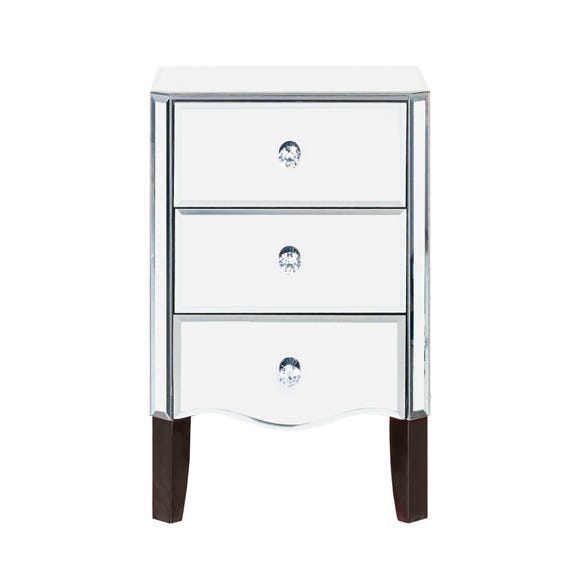 Viola Mirrored 3 Drawer Bedside Table Clear