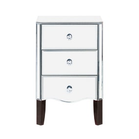 Viola Mirrored 3 Drawer Bedside Table