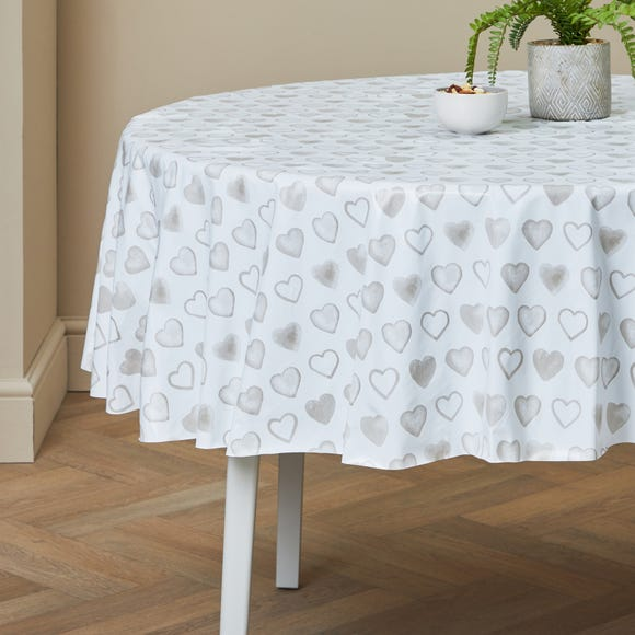 Country Heart Round PVC Tablecloth Taupe (Cream)