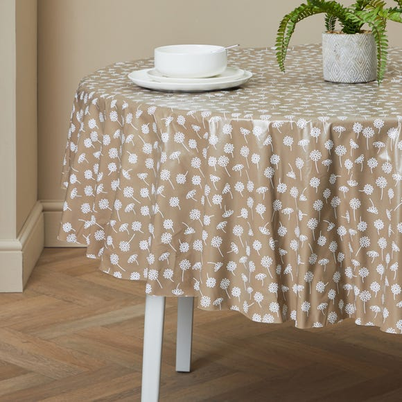 Daisy Round PVC Tablecloth Taupe (Brown)