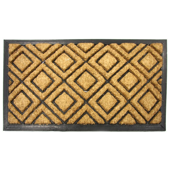 Diamond Coir Doormat Brown