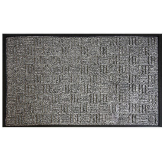 X Hatch Textured Doormat Charcoal (Grey)