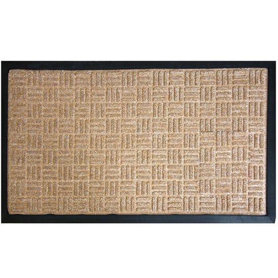 X Hatch Textured Doormat Beige