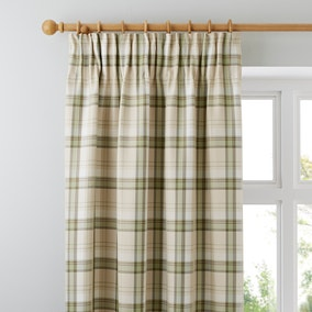 Balmoral Green Pencil Pleat Curtains