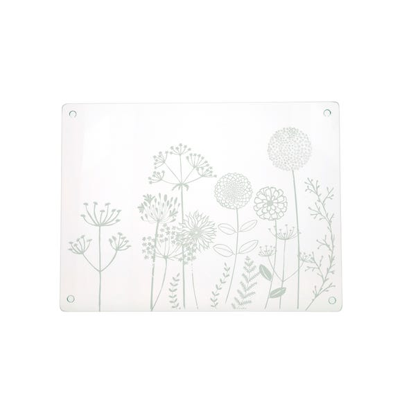 Floral Etched Glass Worktop Saver Clear