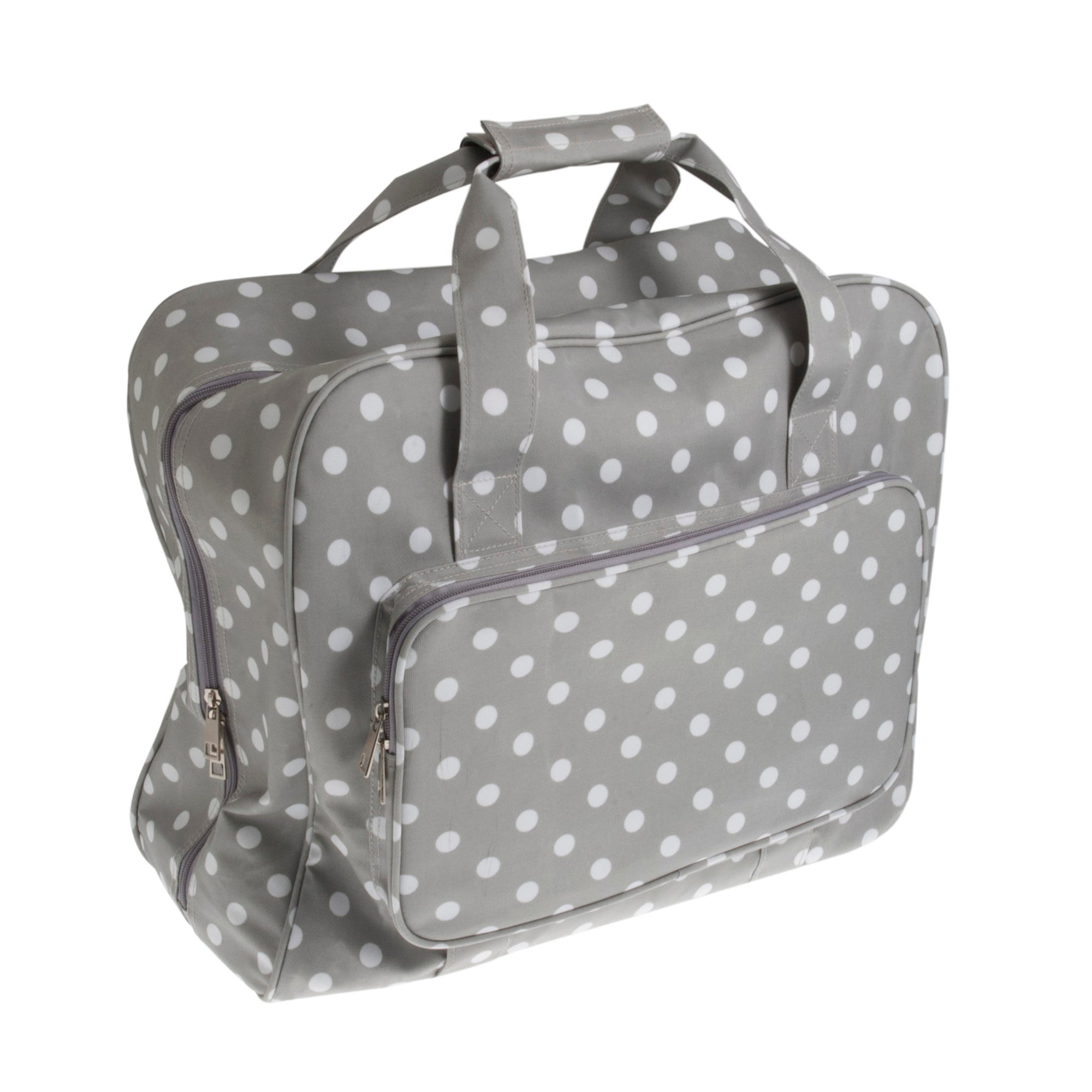 Grey Dotty Matt Sewing Machine Bag Grey/White