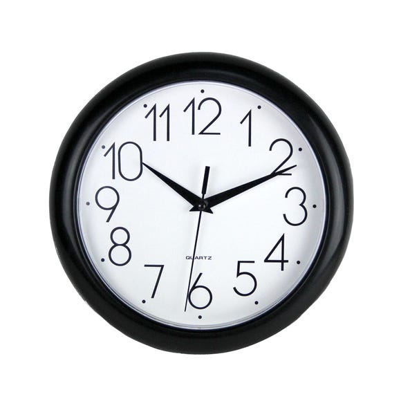 Simply Plastic 24cm Wall Clock Black Black