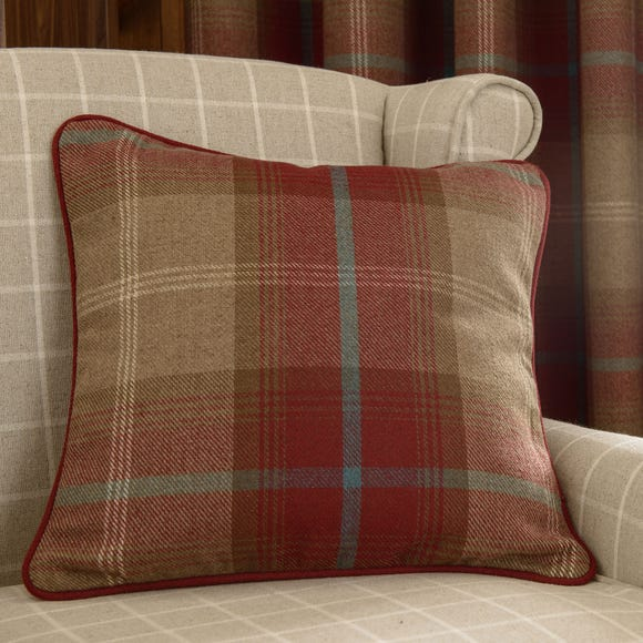 Highland Check Wine Cushion Wine (Red)