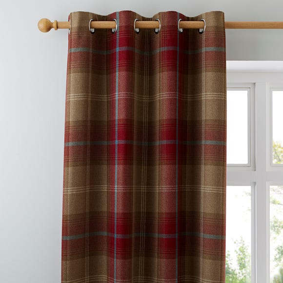 Highland Check Wine Eyelet Curtains Wine (Red) undefined