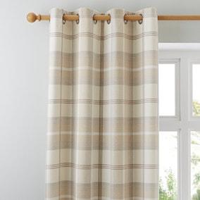 Highland Check Natural Eyelet Curtains