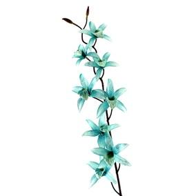 Artificial Cymbidium Blue Glitter Single Spray 76cm