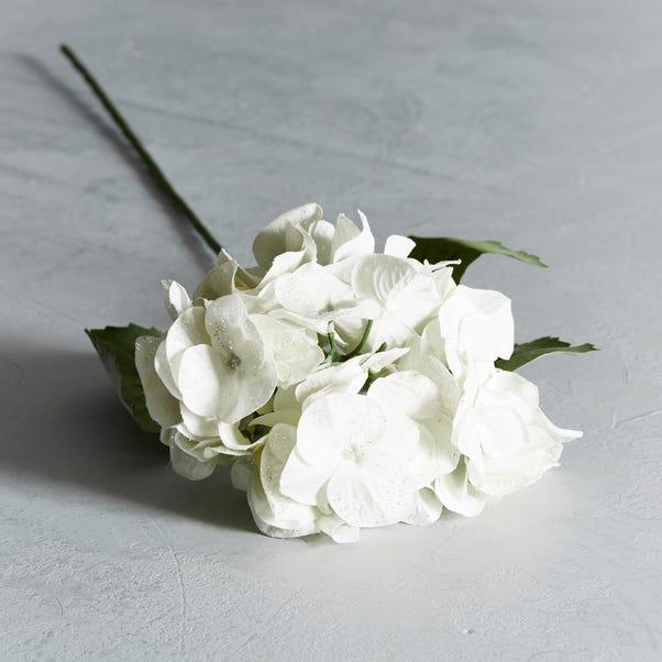 Artificial Hydrangea White Glitter Single Stem 78cm White