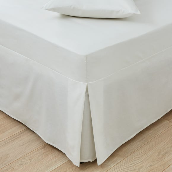 Easycare Plain Dye 100% Cotton 180 Thread Count Ivory Pleated Fitted Valance  undefined