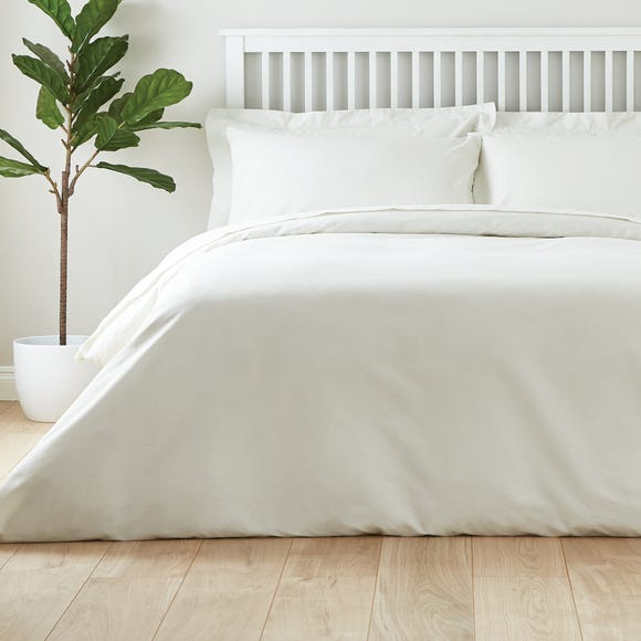 Easycare Plain Dye 100% Cotton Ivory Duvet Cover Ivory undefined