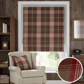 Highland Check Red Blackout Roman Blind