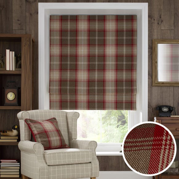 Highland Check Red Blackout Roman Blind  undefined