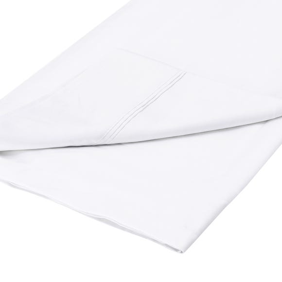 Dorma 500 Thread Count 100% Cotton Sateen Plain Flat Sheet White undefined