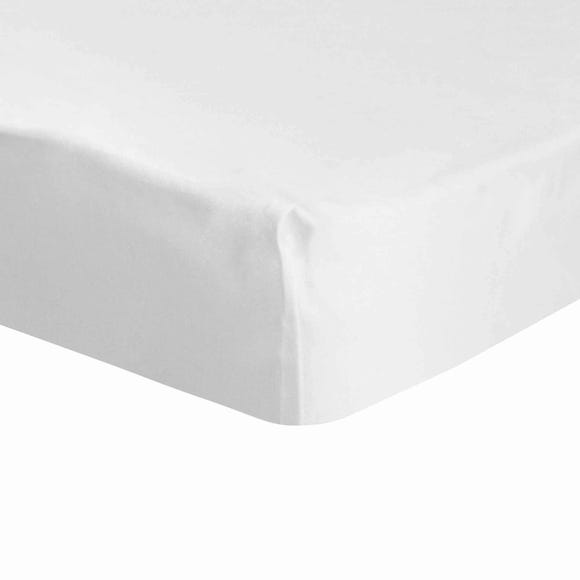 Dorma 500 Thread Count 100% Cotton Sateen Plain Fitted Sheet White undefined