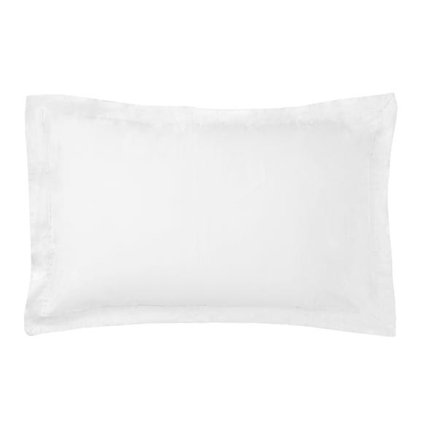 Dorma 500 Thread Count 100% Cotton Satin Plain White Oxford Pillowcase White