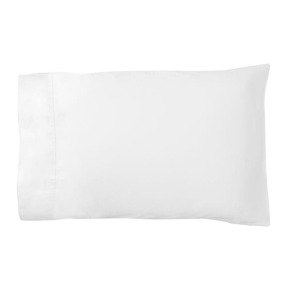 Dorma 500 Thread Count 100% Cotton Satin Plain White Cuffed Pillowcase White