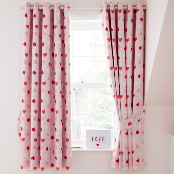 Loveable Hearts Blackout Eyelet Curtains  undefined