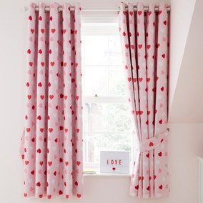Loveable Hearts Blackout Eyelet Curtains